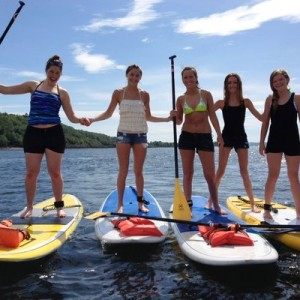 Girls SUP birthday party on the Sound.