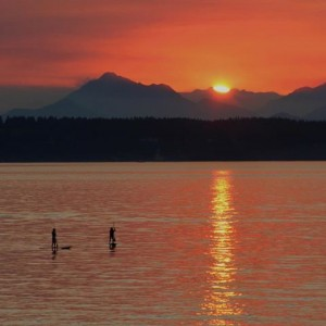 Sunset SUP on Shilshole.