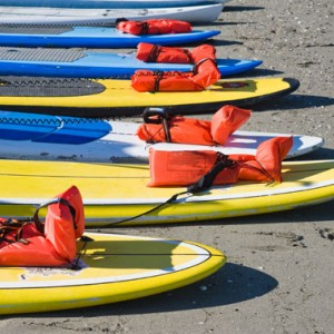 Stand up paddle boards ready for a group lesson at Surf Ballard in Seattle, WA.