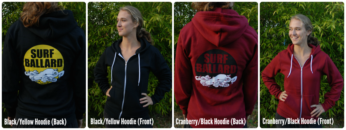 Surf Ballard xip-up unisex hoodies in black and cranberry.