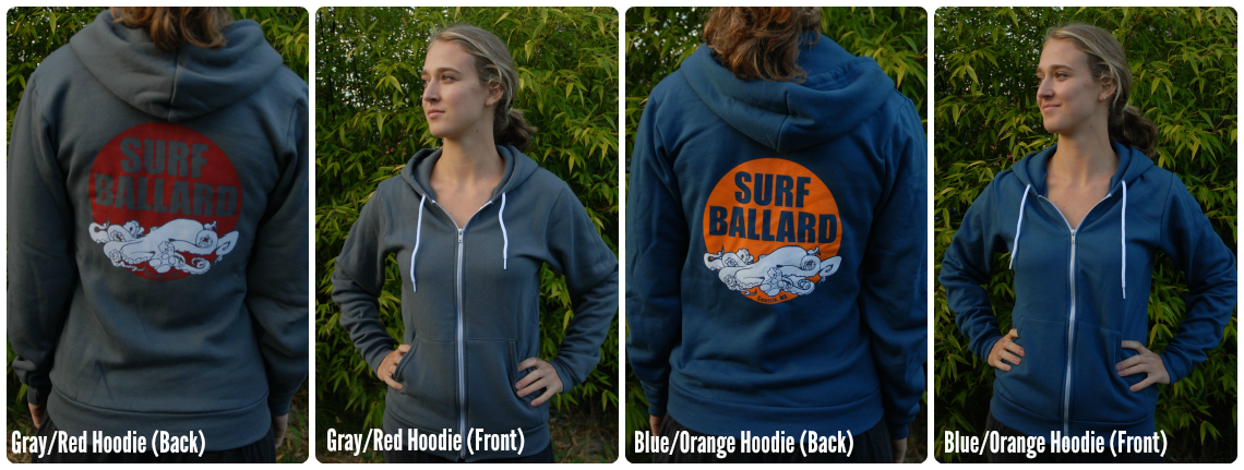 Surf Ballard Zip Up Hoodies in gray and blue.