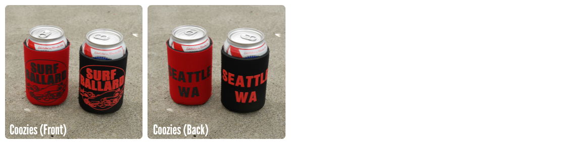 Surf Ballard red and black coozies.