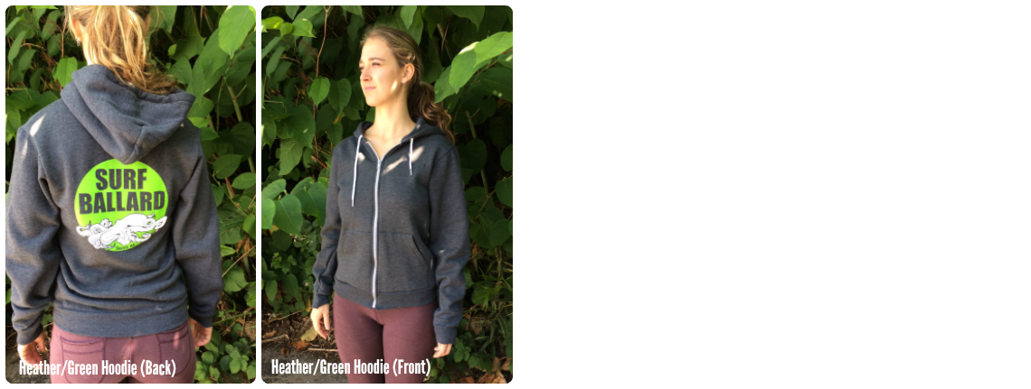 Surf Ballard zip-up unisex hoodies in heather and green.